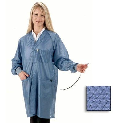 Tech Wear ESD-Safe Lab Coat - Hallmark-Style w/V-Neck & Raglan Sleeves - ESD Cuffs - OFX-100 - Knee Length - Blue