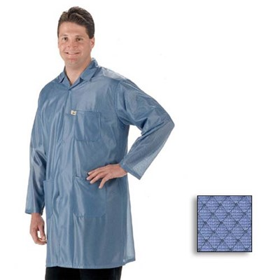 Tech Wear ESD-Safe Lab Coat - Lapel Collar - OFX-100 - Knee Length - Blue