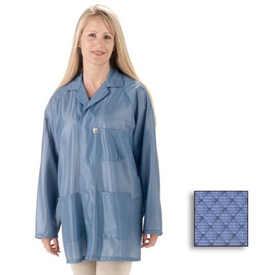 Tech Wear ESD-Safe Lab Jacket - Lapel Collar - OFX-100 - Hip Length - Blue