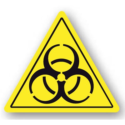 "Ergomat - DuraStripe Triangular Peel & Stick Floor Warning Sign - ""Bio-Hazard"" - 12"""