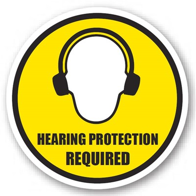 "Ergomat - DuraStripe Circular Peel & Stick Floor Safety Sign - ""Hearing Protection Required"" - 32"""