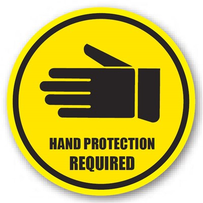 "Ergomat - DuraStripe Circular Peel & Stick Floor Safety Sign - ""Hand Protection Required"" - 20"""