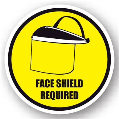 "Ergomat - DuraStripe Circular Peel & Stick Floor Safety Sign - ""Face Shield Required"" - 24"""