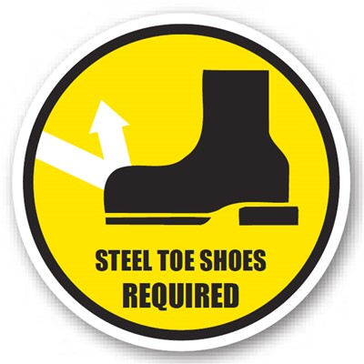 "Ergomat - DuraStripe Circular Peel & Stick Floor Safety Sign - ""Steel Toe Shoes Required"" - 12"""