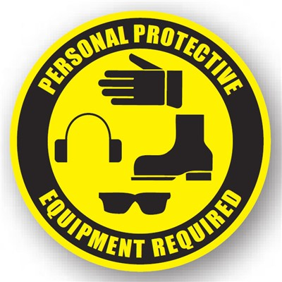 "Ergomat - DuraStripe Circular Peel & Stick Floor Safety Sign - ""Personal Protective Equipment Required"" - 16"""