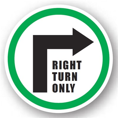 "Ergomat - DuraStripe Circular Peel & Stick Floor Safety Sign - ""Right Turn Only"" - 20"""