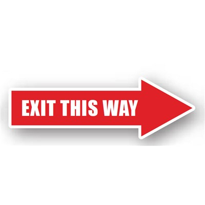 "Ergomat - DuraStripe Directional Peel & Stick Floor Safety Sign - ""Right Arrow (Exit This Way)"" - 12"" x 4"""