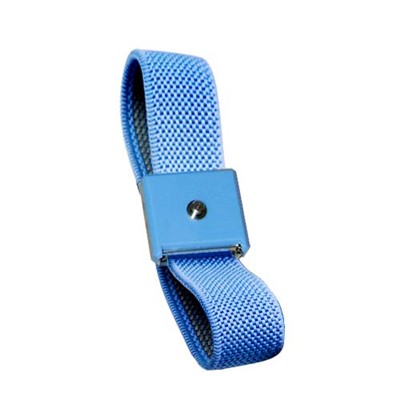 Transforming Technologies WB8016 - Fabric ESD Wrist Band - 4 mm Machined Snap - Clasp - Blue