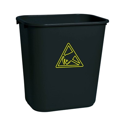 Transforming Technologies WBAS 28 - ESD-Safe Waste Basket - 28 Quart - Black