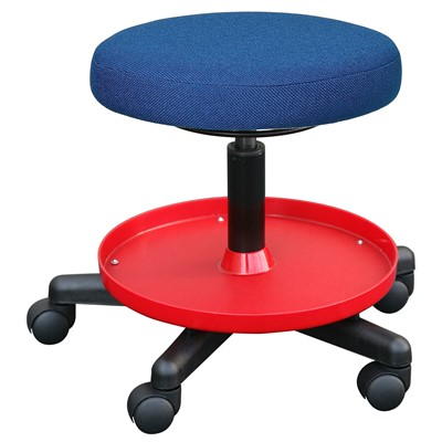 "Bevco V3081F-BL - Value-Line 3000 Series Backless Maintenance/Repair Stool - Fabric - 18""-22.5"" - Dual Wheel Carpet Casters - 15.625"" Dia. Plastic Storage Tray - Blue"