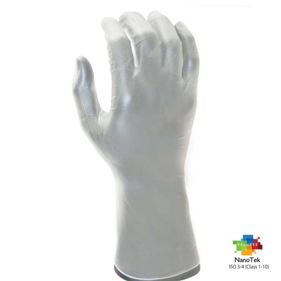 "Valutek VTGVCRB12-SM - NanoTek PVC Vinyl Powder-Free Cleanroom Gloves - 12"" L - Small - 10 Bags/Case"
