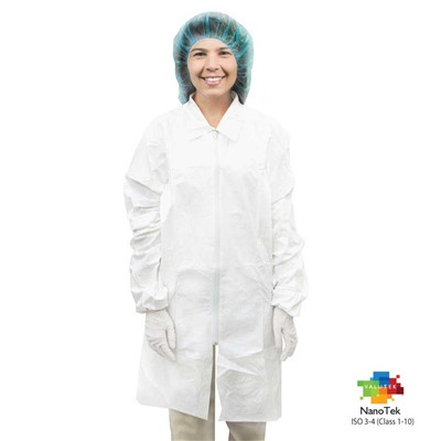 Valutek VTMLBCTZ-LG - NanoTek Microporous Cleanroom Lab Coat - Zippered - Large - 6 Bags/Case