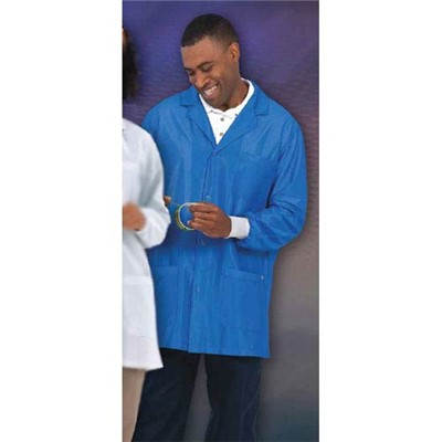 "Worklon 3474-2X - Work-Stat Lapel Lab Jacket w/Anti-Static Cuffs - Snap - 33"" Length - 87% Polyester/13% Carbon - 2X-Large - Royal"