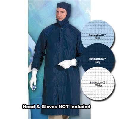 Worklon 3450-2X - SC-3 Burlington C3 Cleanroom Raglan Sleeve Frock - Zippered & Snap - Polyester w/Carbon Grid - 2X-Large - Blue
