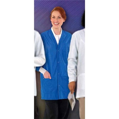 "Worklon 3500-2X - Work-Stat V-Neck ESD Lab Jacket w/Anti-Static Cuffs - Snap - 33"" Length - 87% Polyester/13% Carbon - 2X-Large - Royal"
