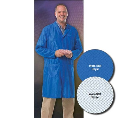 "Worklon 3412-XL - Work-Stat Lapel Lab Jacket w/Adjustable Wrists - Snap - 41"" Length - X-Large - Royal"