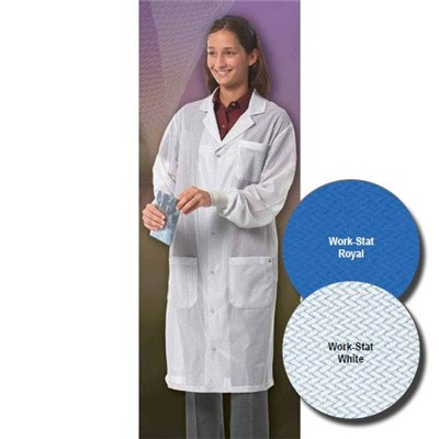 "Worklon 3411-5X - Work-Stat Lapel Lab Jacket w/Anti-Static Cuffs - Snap - 41"" Length - 5X-Large - White"