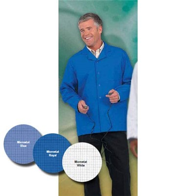 "Worklon 425-XL - Microstat ESD Lapel Short Coat - Snap - 30"" Length - X-Large - Blue"
