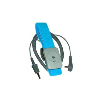 Transforming Technologies WB7050R - Dual Conductor Adjustable Fabric Wrist Strap w/5' Right Coil Cord - Turquoise