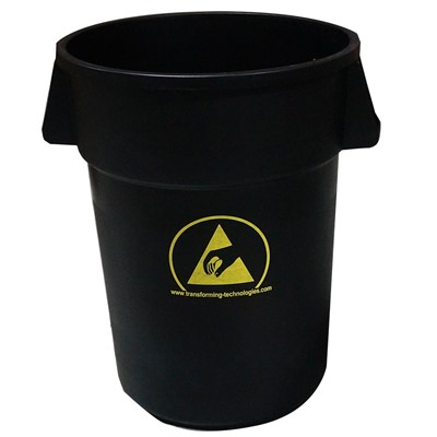 Transforming Technologies WBAS180 - ESD-Safe Waste Basket - 44 Gallon - Black