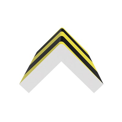 "Ergomat XLSCB120 - XLarge Square Corner Bumper - 48"" Long - Black/Yellow on White Expanded Foam Pad"